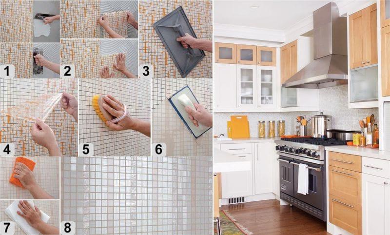Схема установки мозаики из плитки на кухне