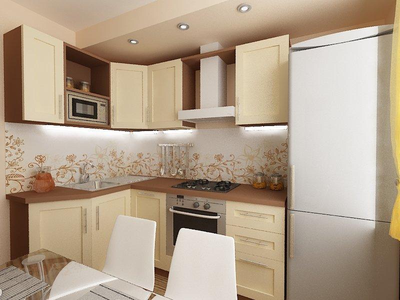 Светлый фартук с рисунком для маленькой кухни