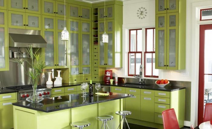 Фото кухни в фисташковом цвете 1