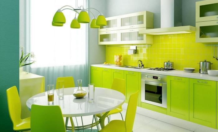Фото кухни в цвете лайм 2