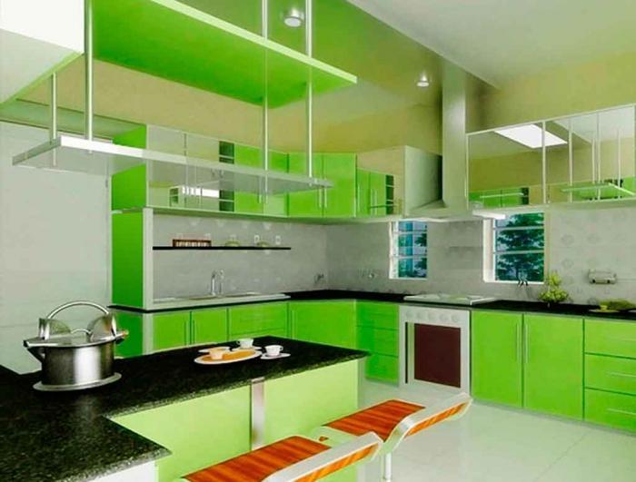 Фото кухни в салатовом цвете 2