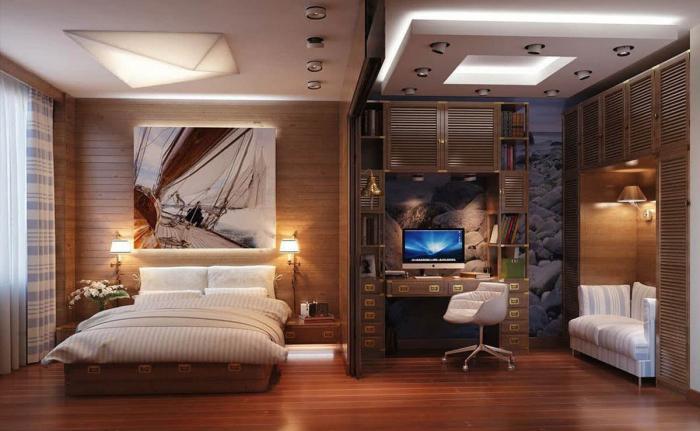 Интерьер спальни-кабинета 1