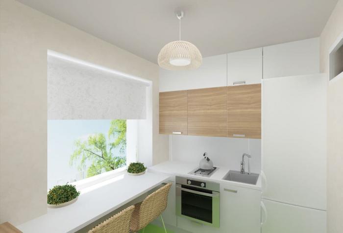 Столешница-подоконник в интерьере маленькой кухни