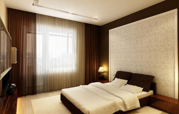 Шторы без ламбрекенов в интерьере спальни 1